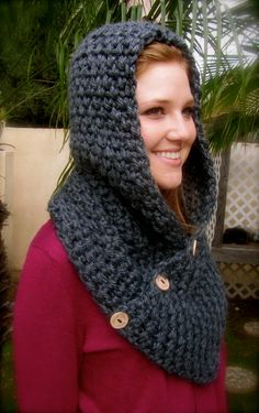 Charcoal Gray Crochet Hooded Cowl / Neck by uniquelyyourscouture