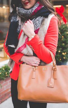 #winter #fashion / red jacket + scarf