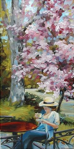 """Under the Cherry Tree"" by Louise Baker (This was a spring painting of a good friend of mine having tea at a small Maritime cafe. The cherry tree was in full bloom. It is oil on canvas."