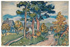 """""""Landscape, New Hampshire"""" by  Maurice Brazil Prendergast  ca. 1910-1913 at Williams College Museum of Art."""