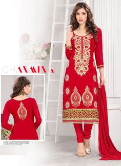 Appear stunningly beautiful in such a red georgette churidar salwar suit. The ethnic embroidered, lace and resham work to the attire adds a sign of attractiveness statement with your look. Comes with ...