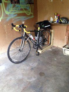 Homemade bike rack.  Cool idea.
