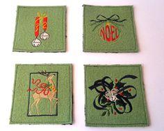 Set of 4 Festive coasters Holiday mug rug  by SewFreshAgain