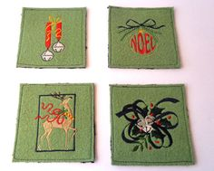 Set of 4 Festive coasters Holiday mug rug  by SewFreshAgain
