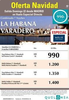 Oferta Navidad - Combi La Habana - Varadero desde 990€ Tax incl. Salida Domingo 22 Diciembre ultimo minuto - http://zocotours.com/oferta-navidad-combi-la-habana-varadero-desde-990e-tax-incl-salida-domingo-22-diciembre-ultimo-minuto/