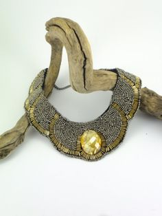 Yellow and Gold Toned Beaded Collar Necklace Beaded Bib Necklace Party Jewelry Statement Necklace, Chunky Necklace Posh Neclace