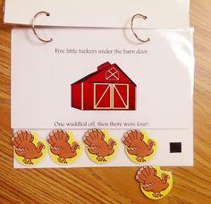 Teach Early Autism: 5 Little Turkeys--good turkey cut out Autism Activities, Language Activities, Holiday Activities, Classroom Activities, Book Activities, Articulation Activities, Children Activities, Classroom Ideas, Thanksgiving Preschool
