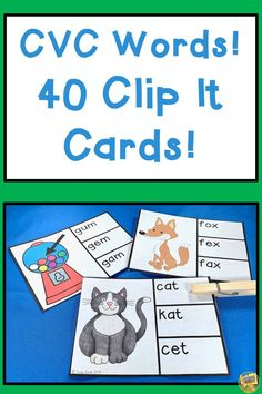 """Practice your CVC Words!  40 Clip It cards to help review how to spell common CVC words!  Cards come in color and black/white.  Have a blast """"CLIPPING"""" the correct way to spell the picture and record it on your answer sheet!  These are fantastic for reading stations, early finishers, or early bird.  #cvcwords #iteachK #iteach1 #teacherspayteachers #smithsafari #readingcenters #phonics #phonicstaskcards Three Letter Words, Cvc Words, Reading Stations, Reading Centers, Teaching Kindergarten, Teaching Ideas, Early Finishers, Teaching Language Arts, Early Bird"""
