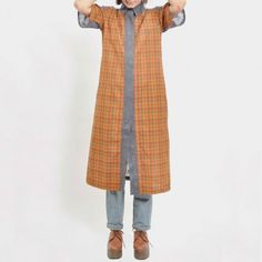 Rust Groovy Checks Cotton Shirt Dress