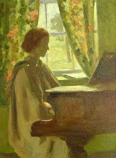Woman Playing At Her Piano by Elanor Colburn