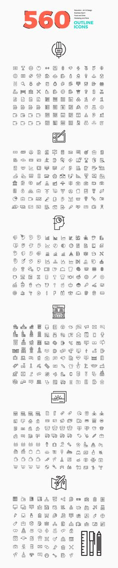 560 Modern Line icons Pack by .C-Du on Creative Market