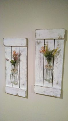 Rustic Sconces Shutters with Vase Rustic Shutters Rustic Wall Decor Flower Holders Shabby Chic Sconces Rustic Home Decor Vases - Rustic Shutters, Rustic Walls, Rustic Wood, Rustic Decor, Farmhouse Decor, Distressed Wood, Large Rustic Wall Decor, Rustic Kitchen Wall Decor, White Shutters