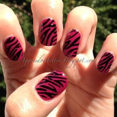 #31dc2013 #day13 #animalprint #zebra #pinkzebra I've only ever put zebra stripes on a cake before! I was shocked at how much I loved this!!!! Will def try in more color combos. #pink #nails #nail #accentnail  #nofilter #directsun #aggies