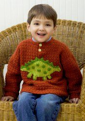 Boys' Dinosaur Sweater   AllFreeCrochet.com  @Christopher Johnson  Jana, I wish this was a pattern for a grown man so we could crochet it for Chris