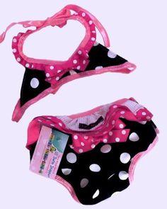 Hot Pink & Black Polka Dot Teeny Weeny Bikini Infant Swimsuit