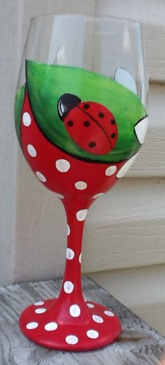 Crazy daisy lady bug love hand painted wine glass....whimsical gift....red and white polka dotted fun....lady bug love.....summer wine glass