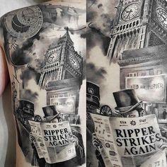 Jack the Ripper Full Back Tattoo