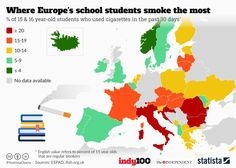 Where Europe's school students smoke the most [960 x 684] : MapPorn