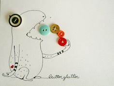 The button glutton original mixedmedia illustration by scarableu