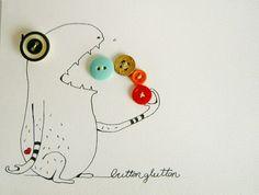 The button glutton original mixed-media illustration. $18.00, via Etsy.