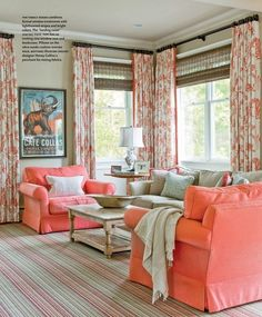Ikat curtains, bamboo blinds