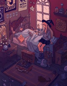 Discovered by L A U. Find images and videos about art, drawing and illustration on We Heart It - the app to get lost in what you love. Art And Illustration, Aesthetic Art, Aesthetic Anime, Aesthetic Bedroom, Pretty Art, Cute Art, Art Watercolor, Witch Art, A Witch
