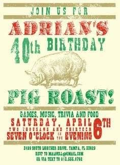 Pig Roast Invitation by SONeilDesigns on Etsy