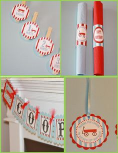 12 Red & Blue Little Red Wagon Theme Birthday by DreamPartyPaperie, $12.00