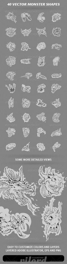 Set of 40 vector monster illustration shapes for your graphic designs. Great for print or web design! EnjoyAdobe Illustrator is m