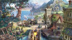 Therian Saga, 2015, jeu, navigateur mmo, village, imaginaire, art, maison, arbre, animaux, montagne, capture d'écran, PC