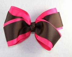 Shocking Pink and Chocolate Brown Layered Hair Bow - $9.20