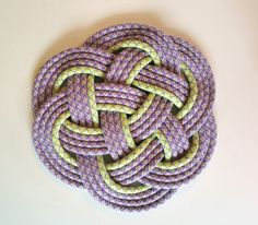 "Recycled climbing rope mat by NAUTI NARWHAL 11"" x 11"" x 1"" / green & purple neon lavender / hostess gift / nursery / nautical / celtic"