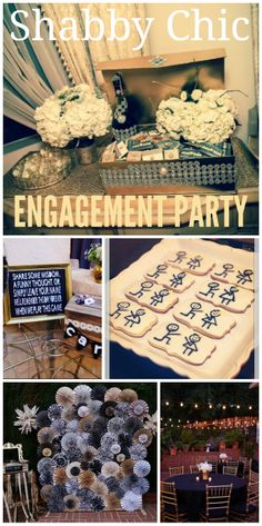 So many lovely ideas at this shabby chic engagement party!  See more party ideas at CatchMyParty.com!