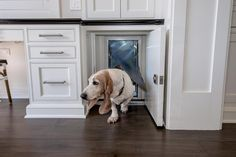 Make way for doggy with this kitchen doggy door fitted behind a lockable white shaker cabinet door.