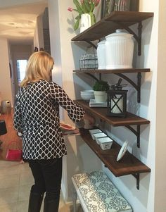 DIY Stained Open Shelving for the Kitchen