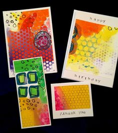 colorful cards made by cutting out favorite pieces of a painting experiment, with stencils, pen, artist pigment, watercolor, gouache, etc. ART GIRL