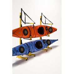 3 boat kayak, canoe, and SUP rack! Store your watercraft on straps - the BEST way to store a boat! Kayak Storage Rack, Kayak Rack, Boat Storage, Kayak Holder, Hobie Mirage, Kayak Equipment, Suspension Straps, Boat Insurance, Kayak Accessories