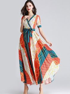 Ethnic Bowknot Sashes Color-Block Big Hem Skater Dress, A-Line Dresses, Ankle-Length, Casual, Empire, L, Lining, M, Orange, Polyester, Print, S, Sashes, Short Sleeve, Spring, V-Neck, XL Long Sleeve Maxi, Maxi Dress With Sleeves, Silk Dress, Wrap Dress, Kurta Designs Women, Ankle Length, Skater Dress, Dress Making, Women's Dresses