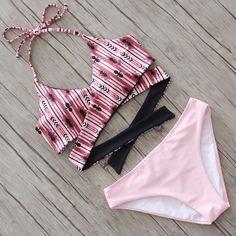 2016 Sexy Croix Brésilien Bikinis Femmes Maillot de Bain Push Up Maillots De Bain Automne Floral Croix Criss Bikini Set Halter Maillots de Bain De Bain