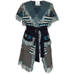 Banjo & Matilda Marrakech geometric intarsia-knit cardigan ($450) ❤ liked on Polyvore featuring tops, cardigans, blue cardigan, geometric cardigan, blue knit top, blue top and geo cardigan