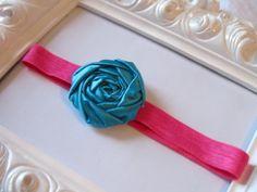 fabric flower stretchy headbands   #happylittlelovelies