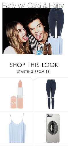 """""""party w/ Cara & Harry"""" by ilovelawley ❤ liked on Polyvore featuring Rimmel, Topshop, Monki and Lipsy"""