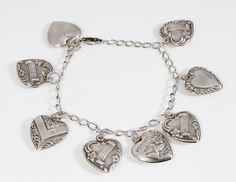 Vintage Sterling Silver Puffy Heart Charm Bracelet by VintageGemz, $125.00
