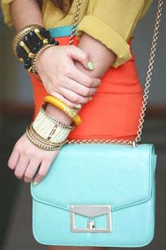 Sky Blue, Mustard and Coral - New color combo for Spring