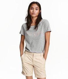 Printed Jersey Top   Light gray melange   Ladies   H&M US