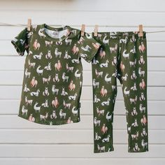 Alpaca / Llama Pajama Set Pretty Laundry is a pajama brand that contains the sweetest lounge sets made from our luxurious signature fabrics. Pretty Laundry will ensure that wash day always brings a smile to your face with a palette of pretty colours. Best of all, your kiddos will love the way they look and feel in these designer jammies. The overall fit is similar to Little & Lively clothing with some minor adjustments to make them suitable for sleepwear. The pajama tops fit longer and leane Llama Pajamas, Scarlett Rose, Pajama Top, Pj, Snug Fit, Baby Kids, Overalls, Laundry, Palette