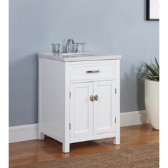 Shop for Solana Bathroom Vanity in White Finish with Grey and White Marble Top. Get free delivery On EVERYTHING* Overstock - Your Online Furniture Outlet Store! Get in rewards with Club O! Vanity Tops With Sink, Marble Vanity Tops, Marble Top, White Marble, White Vanity, Vanity Set, 24 Inch Bathroom Vanity, Top Furniture Stores, Furniture Outlet