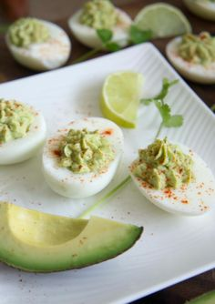 Guacamole Deviled Eggs. No mayo.