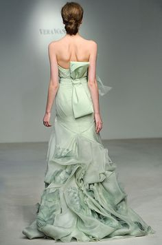 A mint green #wedding gown from Vera Wang, Spring 2012