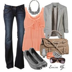 Grey & Coral - really like this outfit idea
